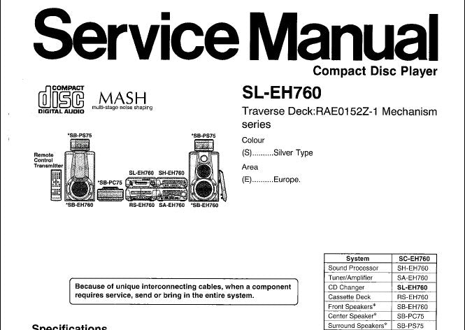 TECHNICS SL-EH760 CD PLAYER SERVICE MANUAL INC SCHEM DIAGS PCB'S WIRING CONN DIAG BLK DIAG TRSHOOT GUIDE AND PARTS LIST 44 PAGES ENG