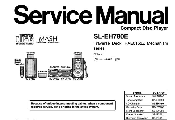 TECHNICS SL-EH780 CD PLAYER SERVICE MANUAL INC SCHEM DIAGS PCB'S WIRING CONN DIAG BLK DIAG TRSHOOT GUIDE AND PARTS LIST 41 PAGES ENG
