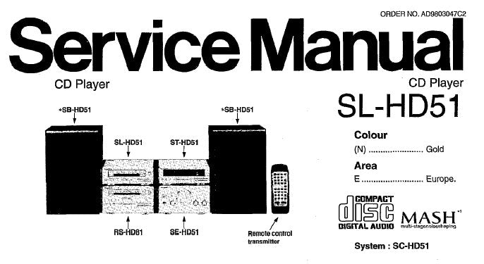 TECHNICS SL-HD51 CD PLAYER SERVICE MANUAL INC TRSHOOT GUIDE WIRING CONN DIAG SCHEM DIAGS BLK DIAG PCB'S AND PARTS LIST 36PAGES ENG