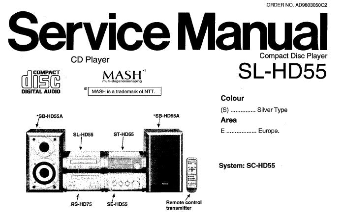 TECHNICS SL-HD55 CD PLAYER SERVICE MANUAL INC BLK DIAG SCHEM DIAGS PCB'S WIRING CONN DIAG AND PARTS LIST 32 PAGES ENG
