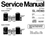 TECHNICS SL-HD60 CD PLAYER SERVICE MANUAL INC SCHEM DIAGS PCB'S BLK DIAG TRSHOOT GUIDE AND PARTS LIST 36 PAGES ENG