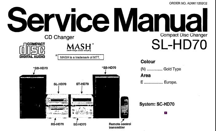 TECHNICS SL-HD70 CD CHANGER SERVICE MANUAL INC BLK DIAG WIRING CONN DIAG SCHEM DIAGS PCB'S AND PARTS LIST 52 PAGES ENG