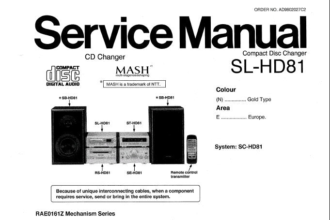 TECHNICS SL-HD81 CD CHANGER SERVICE MANUAL INC BLK DIAG WIRING CONN DIAG SCHEM DIAGS PCB'S AND PARTS LIST 50 PAGES ENG