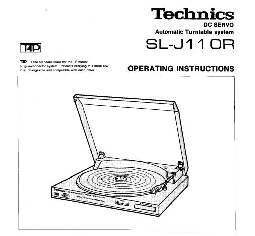 TECHNICS SL-J11 OR DC SERVO AUTOMATIC TURNTABLE SYSTEM OPERATING INSTRUCTIONS INC CONN DIAG AND TRSHOOT GUIDE 6 PAGES ENG