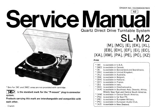 TECHNICS SL-M2 QUARTZ DIRECT DRIVE TURNTABLE SYSTEM SERVICE MANUAL INC TRSHOOT GUIDE PCB'S WIRING CONN DIAG SCHEM DIAG BLK DIAG AND PARTS LIST 26 PAGES ENG