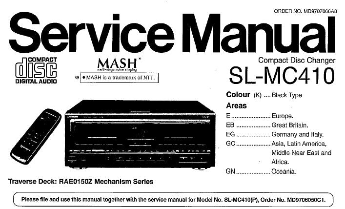 TECHNICS SL-MC410 CD CHANGER SERVICE MANUALS INC WIRING CONN DIAGS SCHEM DIAGS PCB'S CONN DIAG BLK DIAG AND PARTS LIST 90 PAGES ENG