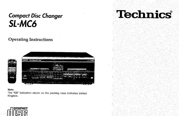 TECHNICS SL-MC6 CD CHANGER OPERATING INSTRUCTIONS INC CONN DIAG AND TRSHOOT GUIDE 24 PAGES ENG