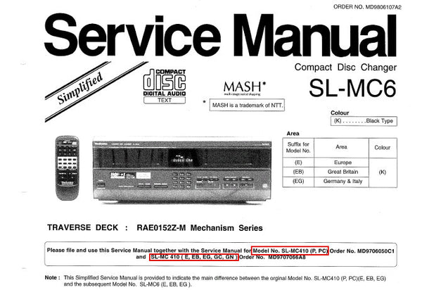 TECHNICS SL-MC6 CD CHANGER SERVICE MANUAL INC SCHEM DIAG