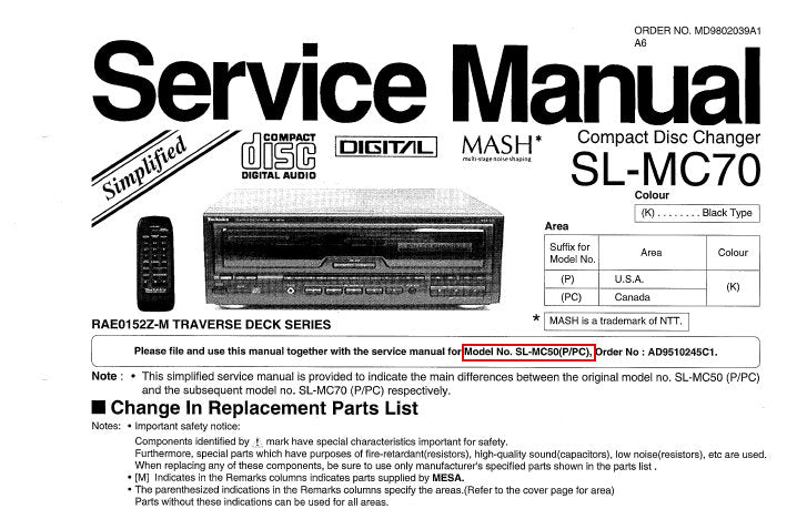 TECHNICS SL-MC70 CD CHANGER SERVICE MANUAL INC SCHEM DIAG PCB'S AND PARTS LIST 16 PAGES ENG