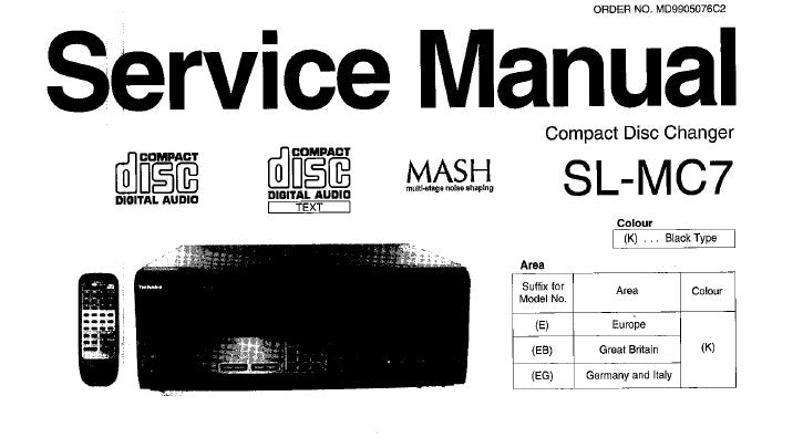 TECHNICS SL-MC7 CD CHANGER SERVICE MANUAL INC WIRING CONN DIAG BLK DIAG TRSHOOT GUIDE SCHEM DIAG PCB'S AND PARTS LIST 56 PAGES ENG