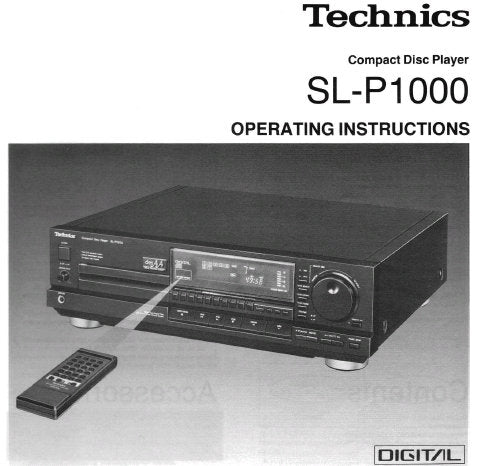 TECHNICS SL-P1000 CD PLAYER OPERATING INSTRUCTIONS INC CONN DIAG AND TRSHOOT GUIDE 20 PAGES ENG