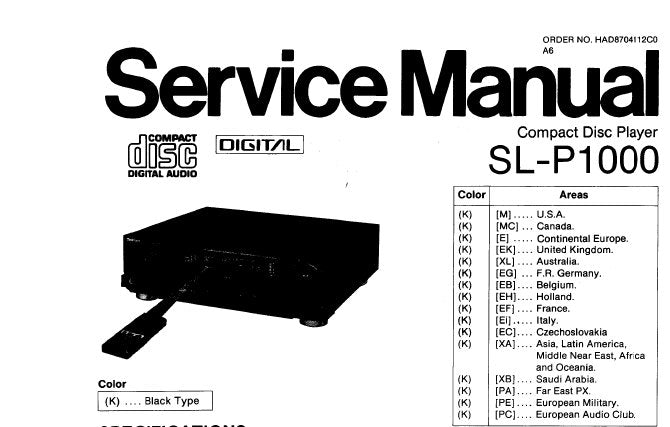 TECHNICS SL-P1000 CD PLAYER SERVICE MANUAL INC SCHEM DIAG PCB'S WIRING CONN DIAG BLK DIAG AND PARTS LIST 48 PAGES ENG