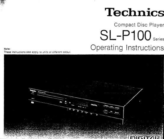 TECHNICS SL-P100 SERIES CD PLAYER OPERATING INSTRUCTIONS INC CONN DIAG AND TRSHOOT GUIDE 17 PAGES ENG