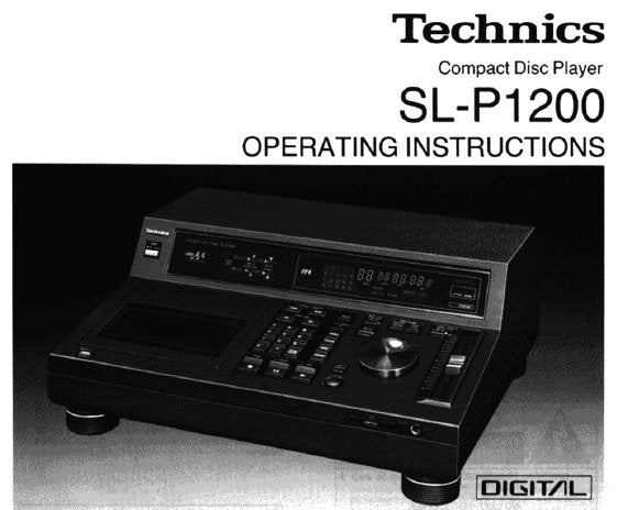 TECHNICS SL-P1200 CD PLAYER OPERATING INSTRUCTIONS INC CONN DIAG AND TRSHOOT GUIDE 28 PAGES ENG