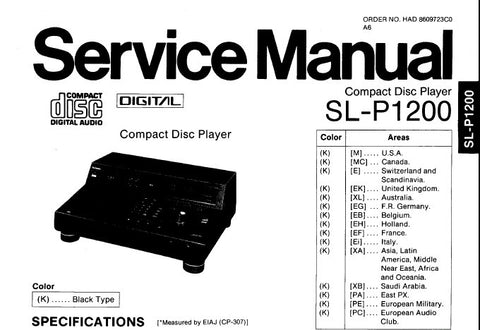 TECHNICS SL-P1200 CD PLAYER SERVICE MANUAL INC PCB'S