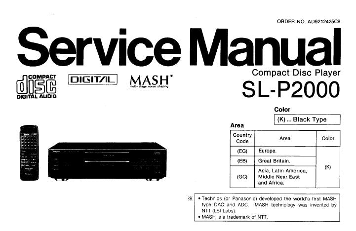 TECHNICS SL-P2000 CD PLAYER SERVICE MANUAL INC CONN DIAG BLK DIAG SCHEM DIAG PCB'S WIRING CONN DIAG AND PARTS LIST 41 PAGES ENG