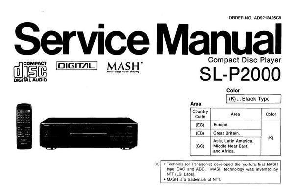 TECHNICS SL-P2000 CD PLAYER SERVICE MANUAL INC CONN DIAG
