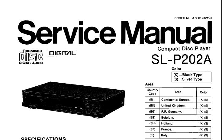 TECHNICS SL-P202A CD PLAYER SERVICE MANUAL INC BLK DIAGS SCHEM DIAG WIRING CONN DIAG PCB'S TRSHOOT GUIDE AND PARTS LIST 46 PAGES ENG