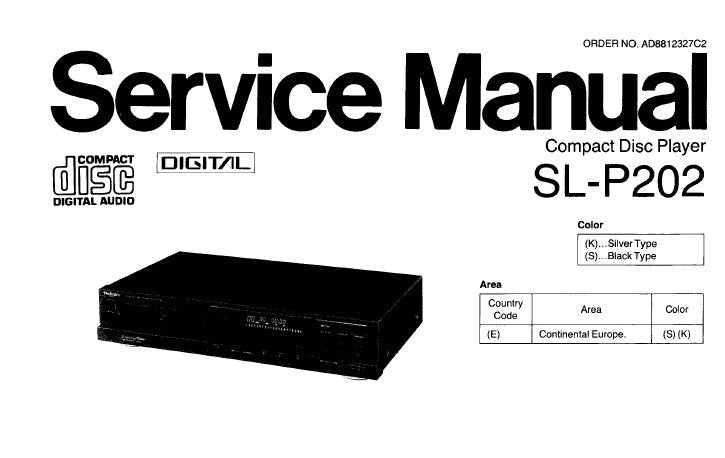 TECHNICS SL-P202 CD PLAYER SERVICE MANUAL INC CONN DIAG SCHEM DIAGS PCB'S WIRING CONN DIAG BLK DIAG TRSHOOT GUIDE AND PARTS LIST 41 PAGES ENG