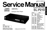 TECHNICS SL-P210 CD PLAYER SERVICE MANUAL INC PCB'S WIRING CONN DIAG SCHEM DIAGS BLK DIAG AND PARTS LIST 54 PAGES ENG