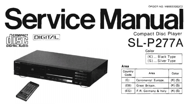 TECHNICS SL-P277A CD PLAYER SERVICE MANUAL INC CONN DIAG BLK DIAG SCHEM DIAG PCB'S WIRING CONN DIAG TRSHOOT GUIDE AND PARTS LIST 29 PAGES ENG