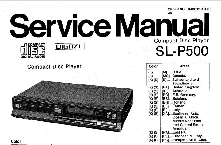 TECHNICS SL-P500 CD PLAYER SERVICE MANUAL INC CONN DIAG TRSHOOT GUIDE PCB'S WIRING CONN DIAG SCHEM DIAGS BLK DIAG AND PARTS LIST 43 PAGES ENG