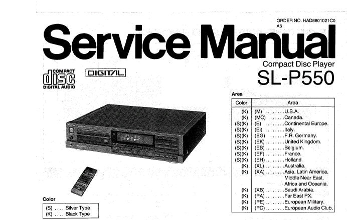 TECHNICS SL-P550 CD PLAYER SERVICE MANUAL INC PCB'S WIRING CONN DIAG SCHEM DIAG BLK DIAG AND PARTS LIST 48 PAGES ENG DEUT FRANC ESP