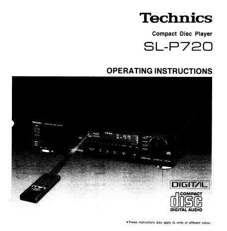 TECHNICS SL-P720 CD PLAYER OPERATING INSTRUCTIONS INC CONN DIAG AND TRSHOOT GUIDE 16 PAGES ENG
