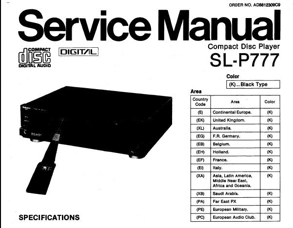 TECHNICS SL-P777 CD PLAYER SERVICE MANUAL INC BLK DIAG SCHEM DIAG WIRING CONN DIAG PCB'S TRSHOOT GUIDE AND PARTS LIST 45 PAGES ENG DEUT FRANC ESP
