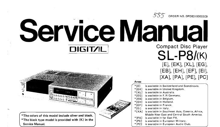 TECHNICS SL-P8 SL-P8(K) CD PLAYER SERVICE MANUAL INC PCB'S WIRING CONN DIAG SCHEM DIAGS BLK DIAGS TRSHOOT GUIDE PARTS LIST 119 PAGES ENG