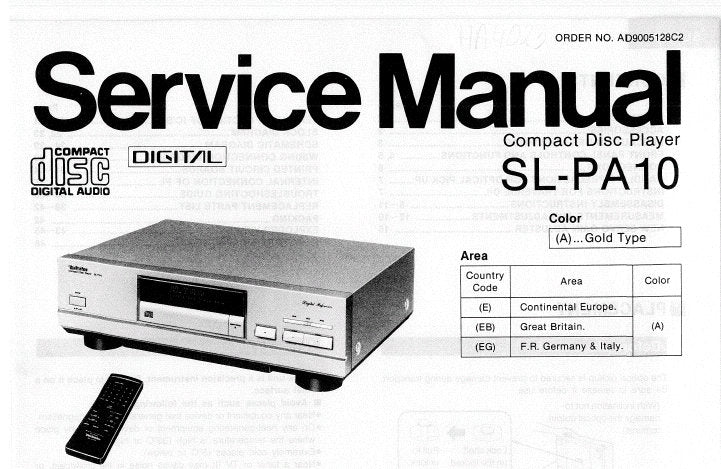 TECHNICS SL-PA10 CD PLAYER SERVICE MANUAL INC CONN DIAG BLK DIAG SCHEM DIAG WIRING CONN DIAG PCB'S TRSHOOT GUIDE AND PARTS LIST 36 PAGES ENG
