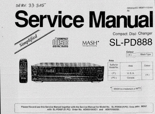 TECHNICS SL-PD349 SL-PD687 SL-PD887 SL-PD888 CD CHANGER SERVICE MANUAL INC SCHEM DIAG CONN DIAG TRSHOOT GUIDE BLK DIAG PCB'S WIRING CONN DIAG AND PARTS LIST 39 PAGES ENG