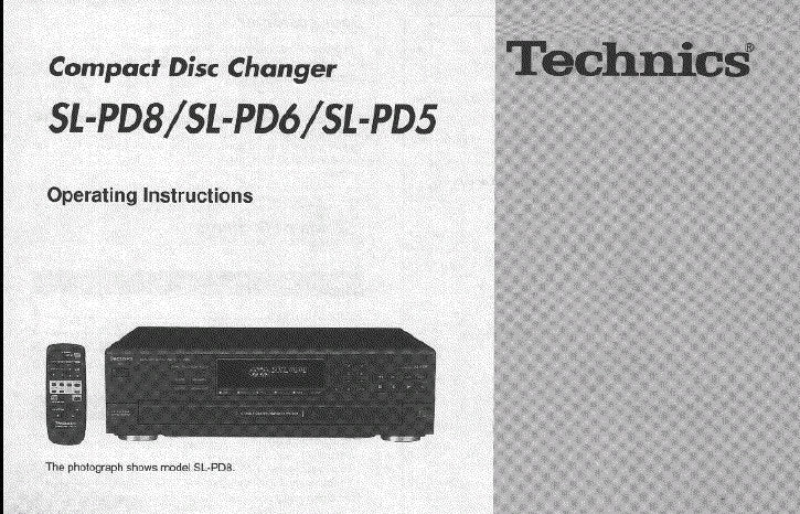 TECHNICS SL-PD5 SL-PD6 SL-PD8 CD CHANGER OPERATING INSTRUCTIONS INC CONN DIAGS AND TRSHOOT GUIDE 16 PAGES ENG