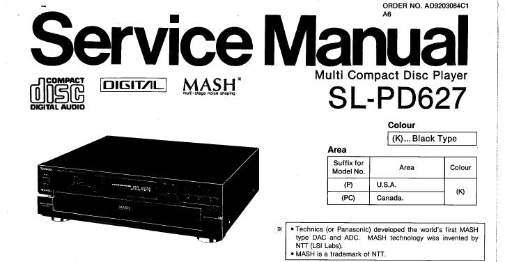 TECHNICS SL-PD627 MULTI CD PLAYER SERVICE MANUAL INC CONN DIAG TRSHOOT GUIDE BLK DIAG SCHEM DIAG PCB'S WIRING CONN DIAG AND PARTS LIST 46 PAGES ENG