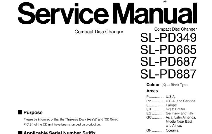 TECHNICS SL-PD665 SL-PD687 SL-PD887 SL-PD349 CD CHANGER SERVICE MANUAL INC SCHEM DIAGS CONN DIAG TRSHOOT GUIDE BLK DIAG PCB'S WIRING CONN DIAG AND PARTS LIST 41 PAGES ENG