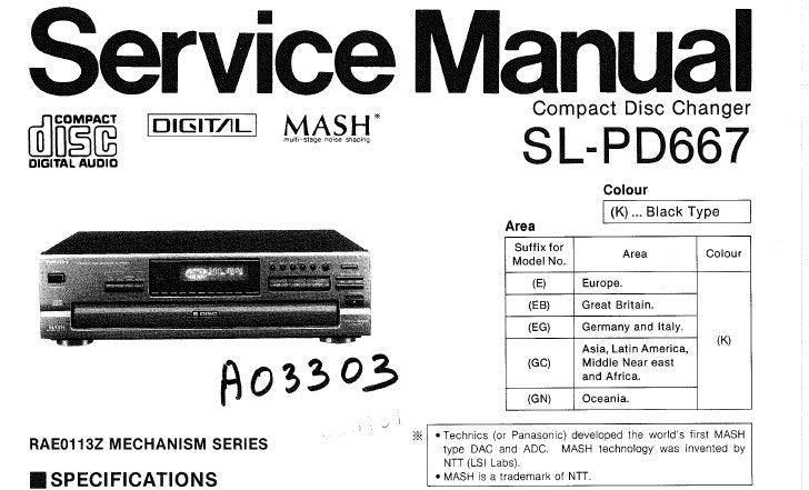 TECHNICS SL-PD667 CD CHANGER SERVICE MANUAL INC CONN DIAG TRSHOOT GUIDE BLK DIAG SCHEM DIAG PCB'S WIRING CONN DIAG AND PARTS LIST 41 PAGES ENG