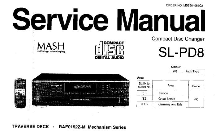 TECHNICS SL-PD8 CD CHANGER SERVICE MANUAL INC CONN DIAGS TRSHOOT GUIDE SCHEM DIAG PCB'S BLK DIAG WIRING CONN DIAG AND PARTS LIST 40 PAGES ENG