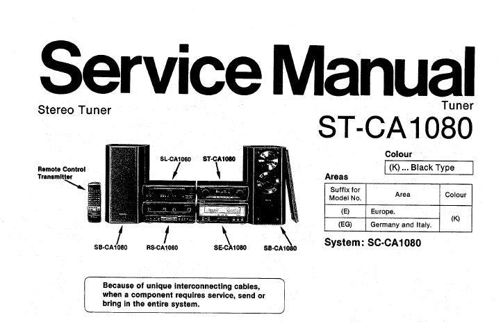 TECHNICS ST-CA1080 STEREO TUNER SERVICE MANUAL INC CONN DIAGS SCHEM DIAGS PCBS BLK DIAG AND PARTS LIST 31 PAGES ENG