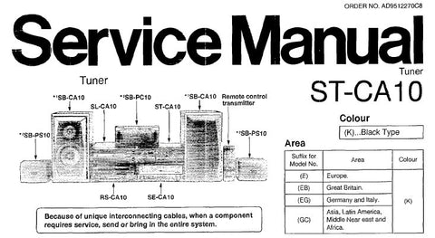TECHNICS ST-CA10 TUNER SERVICE MANUAL INC SCHEM DIAGS PCBS WIRING CONN DIAG BLK DIAG AND PARTS LIST 46 PAGES ENG