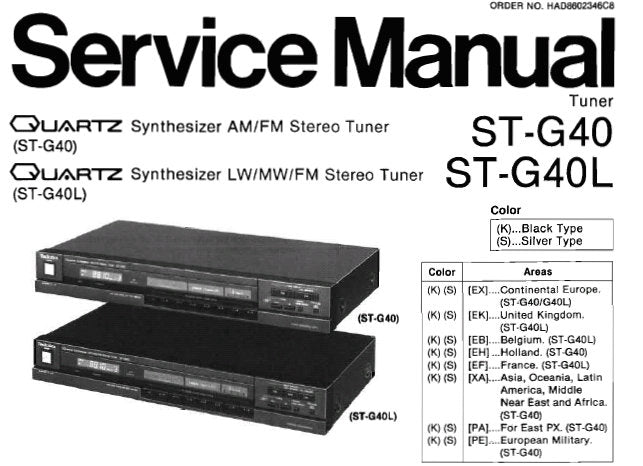 TECHNICS ST-G40 QUARTZ SYNTHESIZER AM FM STEREO TUNER ST-G4OL QUARTZ SYNTHESIZER LW MW FM STEREO TUNER SERVICE MANUAL INC PCBS SCHEM DIAGS AND PARTS LIST 18 PAGES ENG