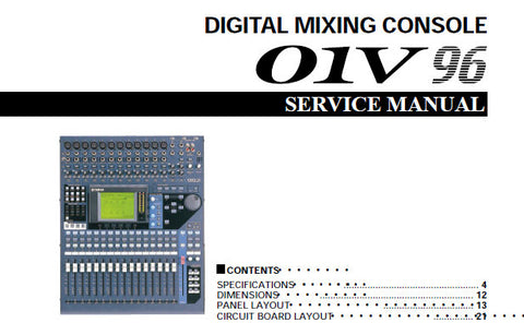 YAMAHA 01V96 DIGITAL MIXING CONSOLE SERVICE MANUAL INC BLK DIAGS SCHEM DIAGS AND PARTS LIST 227 PAGES ENG