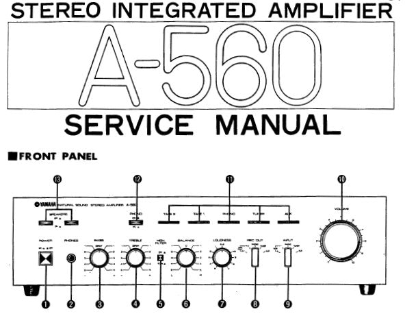 YAMAHA A-560 STEREO INTEGRATED AMPLIFIER SERVICE MANUAL INC BLK DIAG PCB'S WIRING DIAG SCHEM DIAGS AND PARTS LIST 30 PAGES ENG