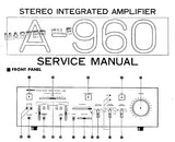 YAMAHA A-960 STEREO INTEGRATED AMPLIFIER SERVICE MANUAL INC BLK DIAG WIRING DIAG PCB'S SCHEM DIAG AND PARTS LIST 37 PAGES ENG