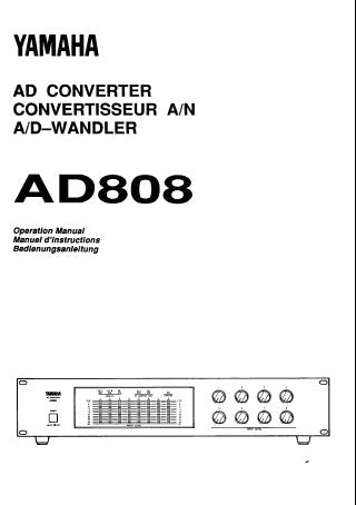 YAMAHA AD808 AD CONVERTER OPERATION MANUAL INC BLK DIAGS 13 PAGES ENG