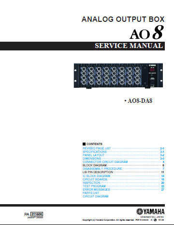 YAMAHA AO8 ANALOG OUTPUT BOX AO8-DA8 SERVICE MANUAL INC BLK DIAG PCB'S SCHEM DIAGS AND PARTS LIST 61 PAGES ENG