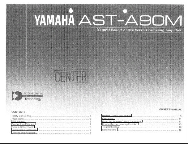 YAMAHA AST-A90M ACTIVE SERVO PROCESSING AMPLIFIER OWNER'S MANUAL INC CONN DIAG AND TRSHOOT GUIDE 20 PAGES ENG