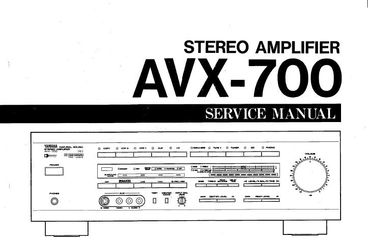 YAMAHA AVX-700 STEREO AMPLIFIER SERVICE MANUAL INC BLK DIAG WIRING DIAG PCB'S SCHEM DIAGS AND PARTS LIST 34 PAGES ENG