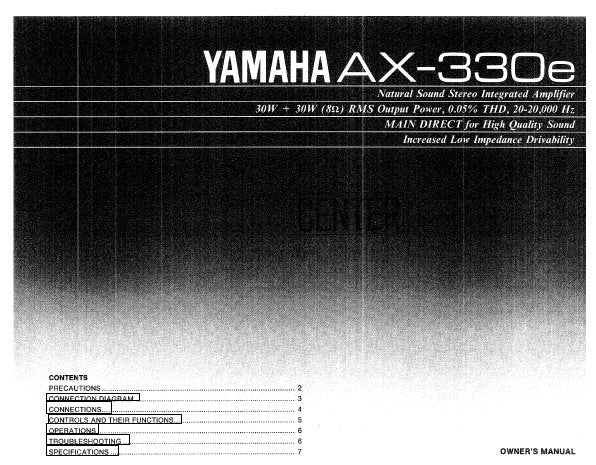 YAMAHA AX-300e STEREO INTEGRATED AMPLIFIER OWNER'S MANUAL INC CONN DIAG AND TRSHOOT GUIDE 8 PAGES ENG