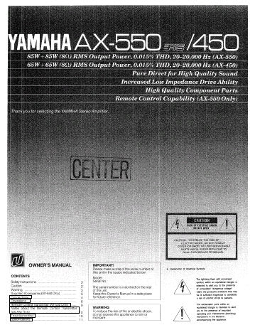 YAMAHA AX-450 AX-550 STEREO AMPLIFIER OWNER'S MANUAL INC CONN DIAG 12 PAGES ENG