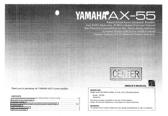 YAMAHA AX-55 STEREO INTEGRATED AMPLIFIER OWNER'S MANUAL INC CONN DIAG AND TRSHOOT GUIDE 10 PAGES ENG